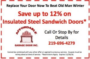 Coupon for up to 12% off a new garage door installation.