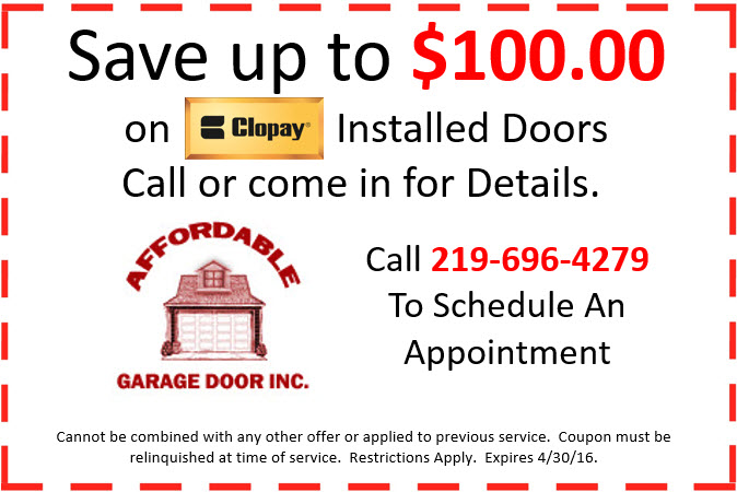 $100 Off Coupon for Garage Door Installation in Crown Point