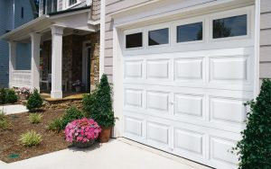 Exterior view of white garage door