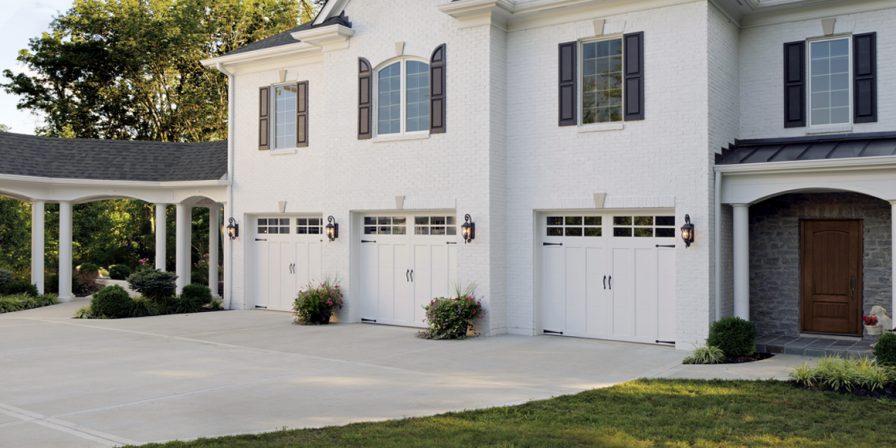 three garage doors image for broken garage door seeking Dyer garage door repair company