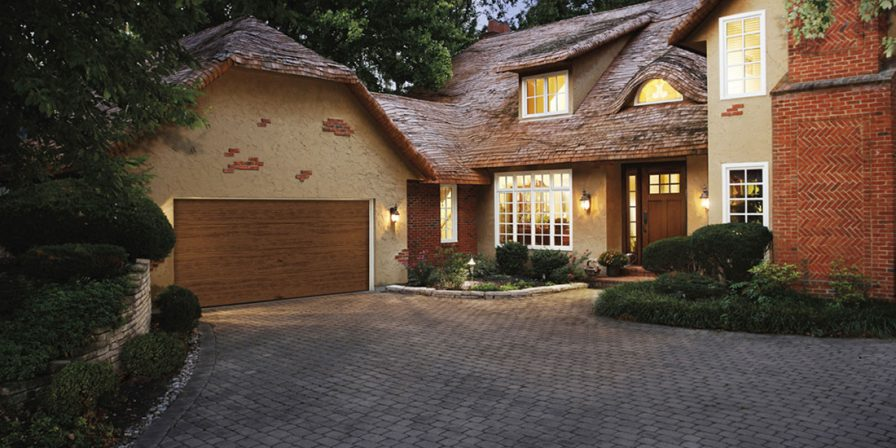 brick drive to woodgrain garage image for garage door business in Lake County