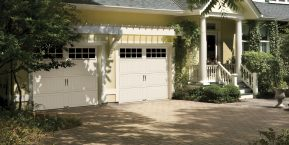 two white garage doors when needing a garage door repair company in hebron
