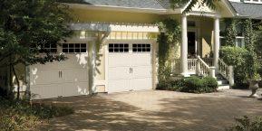 two white garage doors when needing a garage door repair company in hebron