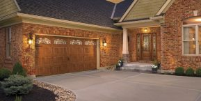 wooden garage with window when looking for the current trends in garage doors with garage door company in Lake of the Four Seasons