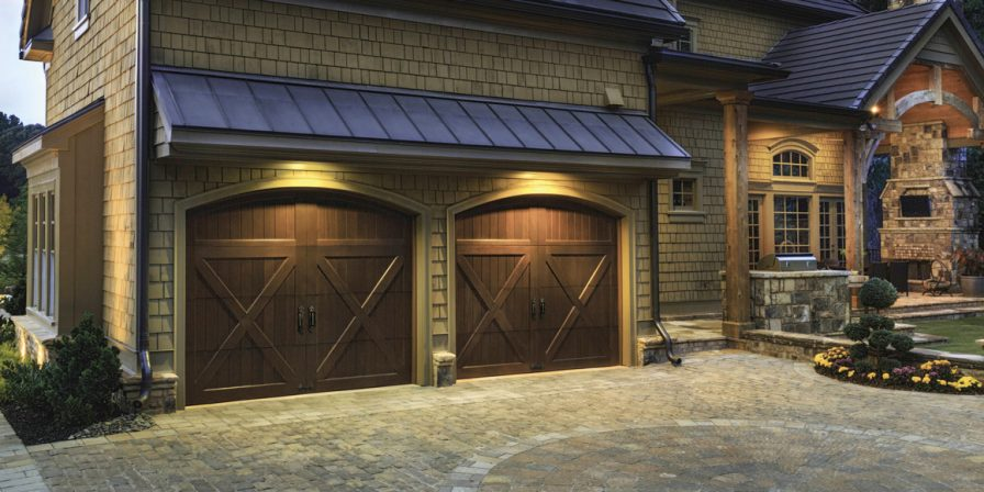 brick driveway to wooden garage door concept for garage door installers in demotte