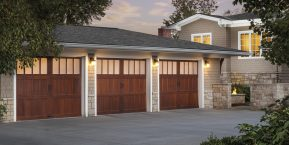 three garage doors that need repair from a reputable garage door company in Lake County, IN
