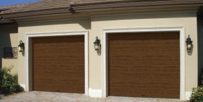 faux wooden garage door image when needing to update a garage door look to st john garage door replacement business