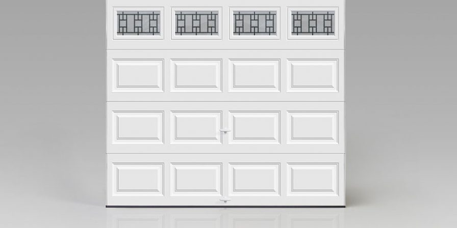 white garage door with window pane when needed help with broken spring contact skilled garage door repair company in Griffith