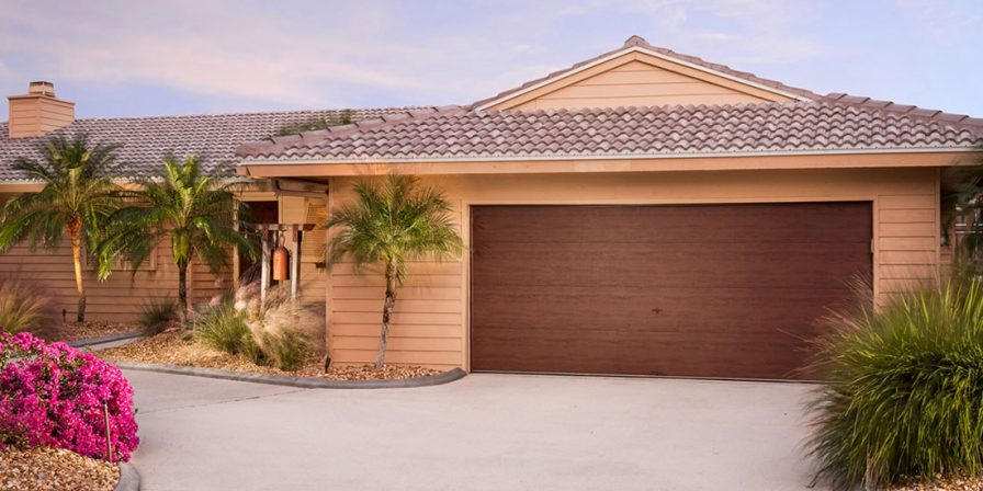 faux wood garage door concept for skilled garage door replacement company in highland