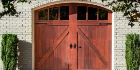 home with wooden garage door image for reliable garage door service company in griffith