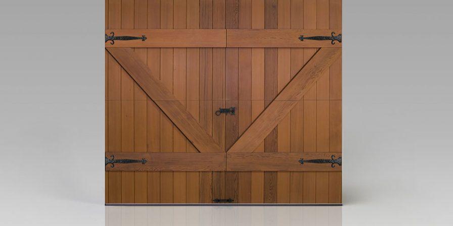 wooden garage front concept for garage door service company in beecher